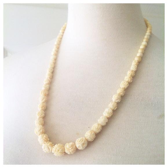 Vintage Jewelry Natural Bone Carved Rose Necklace Vntg Poshmark